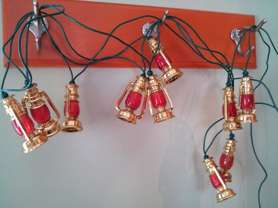Vintage lot lantern string Christmas lights red by circuitvintage