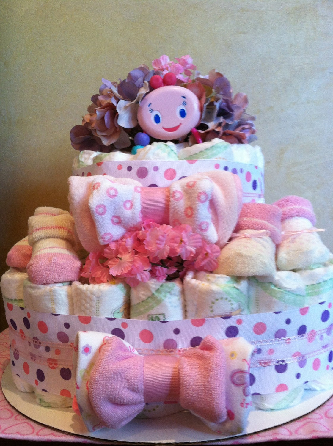 Diaper Cake Baby Girl Pink Diaper Cake Baby By
