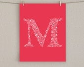 Letter Art Print - Personalized Monogram Initial - Choose Your Color, 8x10