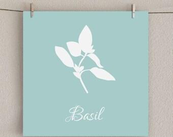 Kitchen Art Print - Herb - Basil Illustration - Aqua, 8x8