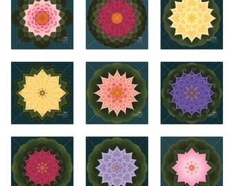 Lotus Mandala Ornaments - Printable Digital Sheet