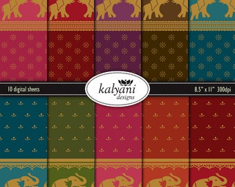 Sari Elephants Paper Collection - Printable Digital Sheets