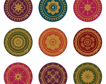 Sari Floral Ornaments - Printable Digital Sheet