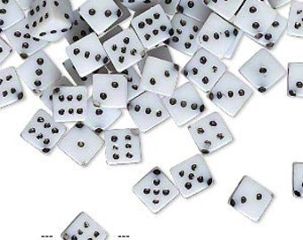 Beads: Small Acrylic Dice Beads, 7 mm measured hole to hole, 5mm on sides, Set of 20, White Dice Beads, Las Vegas Beads, Gambling, DIC010