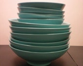 Vintage - Boontonware Melmac Bowls Set of 10 Total - 6 Large & 4 Small - Hard to find Vintage Turquoise Aqua (Tiffany Blue) Color