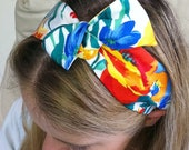 Headband with Flexible Twisty Wire Enclosed in a Colourful Floral Cotton Fabric