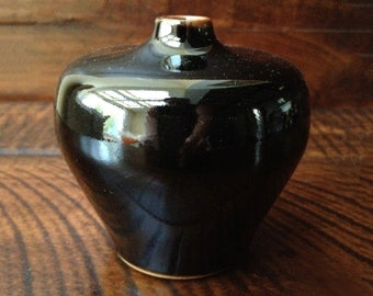 Small Laslo for Mikasa Bud Vase in Deep Chocolate Brown/Mocha trim - Made in Japan