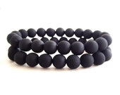 SALE - Set of 2: Men's Matte Black Beaded Bracelets