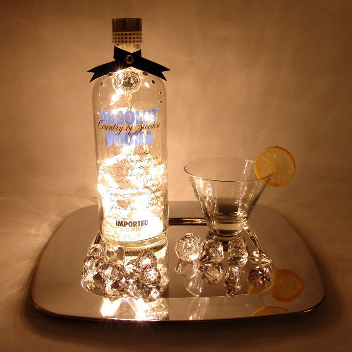 absolut vodka light up liquor bottle lighted decorated. Black Bedroom Furniture Sets. Home Design Ideas
