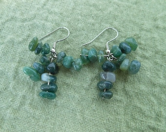 Mixed Shades Of Green Nugget Earrings