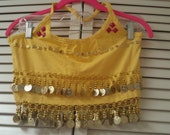 CLEARANCE: Upcycled Yellow Coined & Studded Bellydance Halter Crop Top