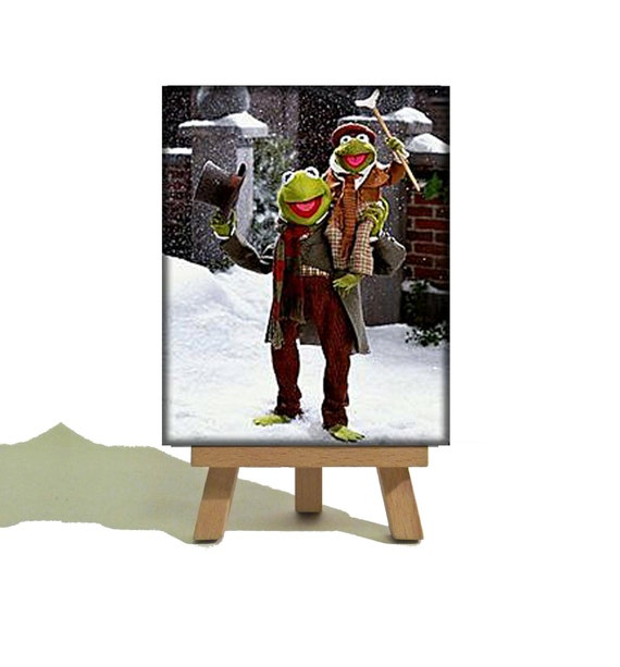 KERMIT the FROG - The Muppets Christmas Carol - Cute Miniature Canvas and Easel Set - Perfect Christmas Stocking Filler