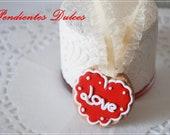"kawaii- cute- cookie necklace "" love""- red- for Valentine"