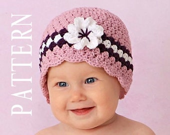 Crochet Baby Hat with Flower, Baby Girl Crochet PATTERN, Baby Girl Crochet Hats