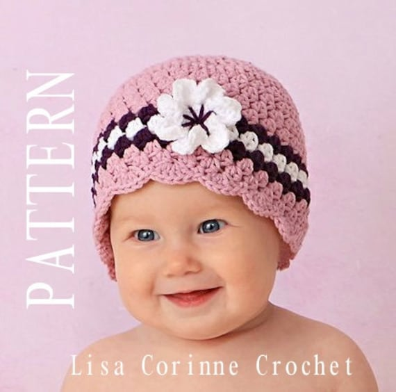 Crochet Pattern Newborn Girl Hat : Crochet Baby Hat with Flower Baby Girl Crochet PATTERN Baby