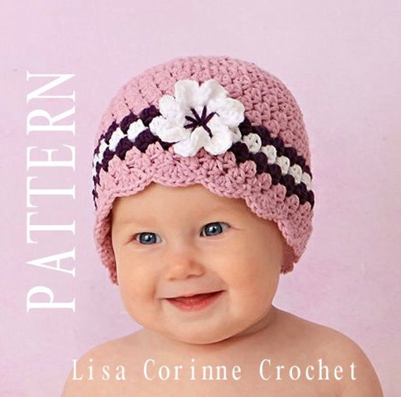 Crochet Flower For Hat : ... Hat with Flower, Baby Girl Crochet PATTERN, Baby Girl Crochet Hats