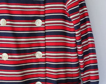 1960 Red and Blue Power Stripe Double Breasted  Vintage Trench