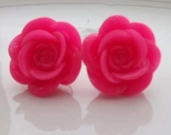 Large Hot Pink Rose Earrings