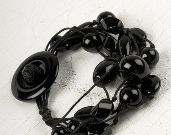 Black Onyx and Leather Bracelet