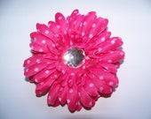 Pink Polka Dot 4 Inch Flower Clip