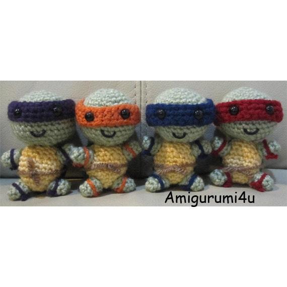 Teenage Mutant Ninja Turtles TMNT Handmade Amigurumi Crochet Doll Leonardo Donatello Raphael Michelangelo Weapons