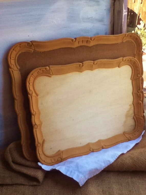 WOOD TRAYS / Country French / Gift / Serve / Supply / Ready to Paint / Cottage Chic / Carved Wood