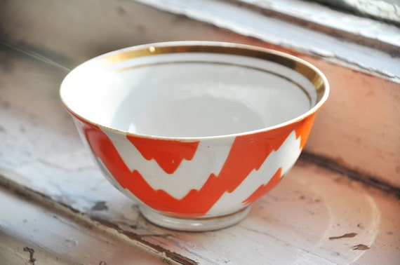 Porcelain orange  bowl with an ikat ornament (produced in USSR, in 80s')