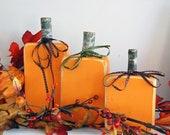 Pumpkin Wood Blocks - Wood Block Decor Set - Painted Version