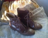 Vintage Designer Brown Leather Granny Lace Up Boots by Ralph Lauren Size 5.5B