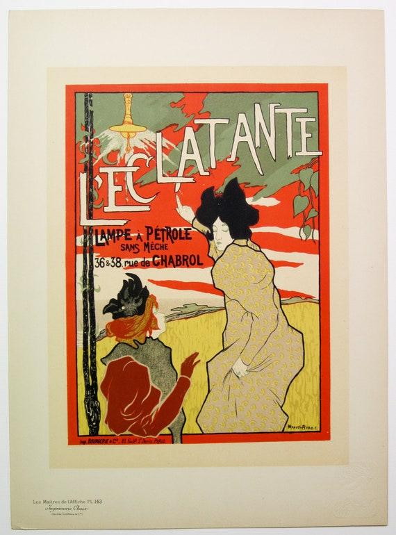 Manuel Robbe, Original Maitres de L'Affiche Poster, French 1898, Plate No.143, Ad for a kerosene lamp, L'ECLATANTE.