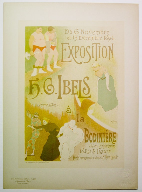 H.G.Ibels, Maitres de L'Affiche Poster, French1898, Plate No.138, Poster for an Art Exhibition of H.G.Ibels Work at the Bodiniere.