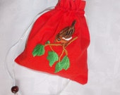 Christmas gift bag, handmade embroidered gift bag, with bird motif, red gift bag,