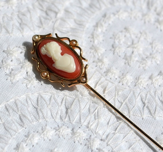 vintage hat pin coral white cameo s profile by