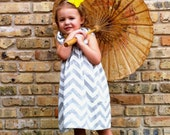 Girl's Grey Chevron Dress with Ruffled Sleeves