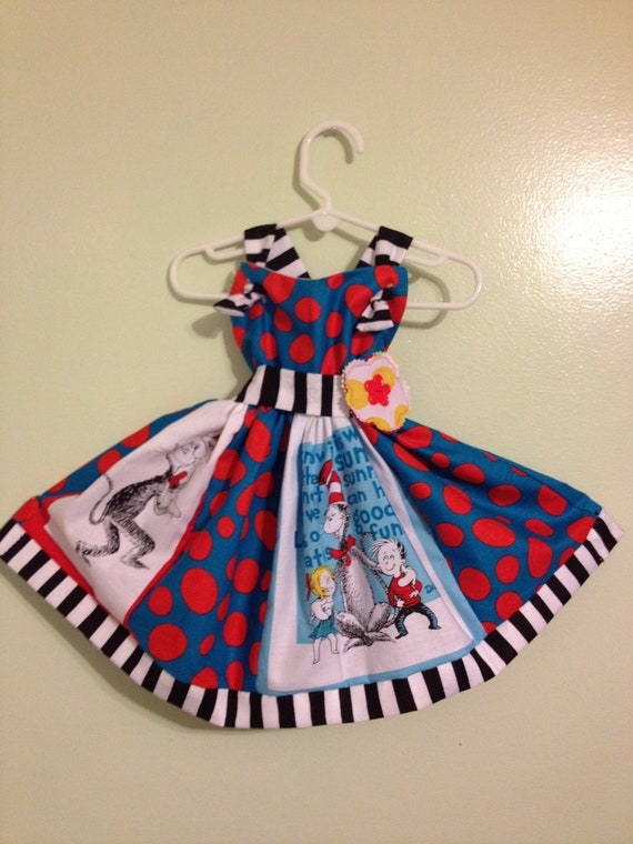 Beautiful, handmade, unique Dr. Seuss party dress for your little girl.