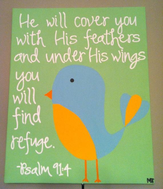 Bible Verse Psalm 91 Psalm 91:4 Bible Verse Art