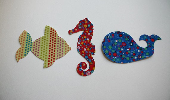 SHIPS FREE, Iron On Fabric Appliques, 3 Ocean theme for baby or children of all ages, plus 25% to Charity