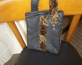 Cute Leopard accent handmade leather purse