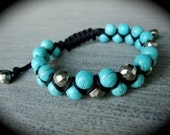 Turquoise Round and Faceted Pyrite on Black Cord Double Macrame Bracelet
