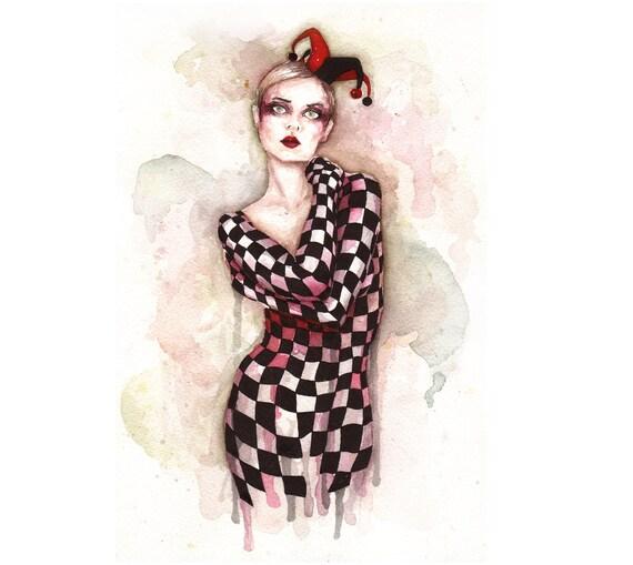 Harlequin - Watercolor and ink painting - Original Art 12x9