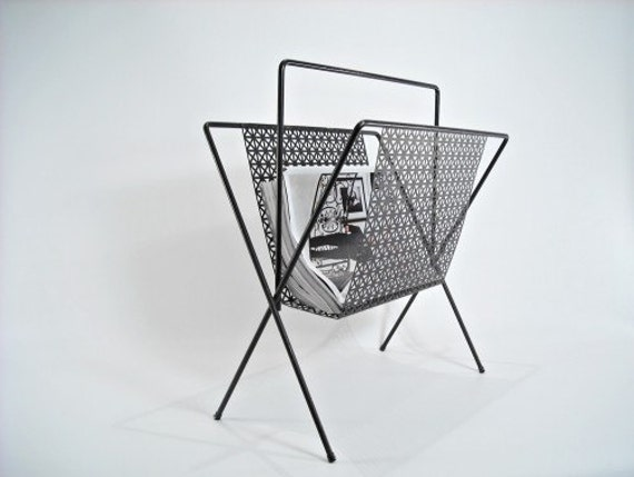 Mid Century Magazine Rack Black Metal Retro
