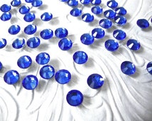 144 Pcs., 1440 Pcs. or 14,400 Pcs./ SS16 Sapphire Hot Fix (Hotfix) Iron On or Glue On Crystal Flat Back Rhinestones -  4mm