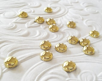 "Gold Dome Round Studs 5 mm (approx. 3/16"") Metal Hot Fix (HotFix) Iron On or Glue on  Flat Back Studs/ 50 pcs."