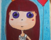 Blythe doll painting by oil pastels purple eyes
