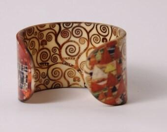 Acrylic Bangle / Bracelet - Gustav Klimt - Tree of Life - Symbolism - Wristband / Cuff
