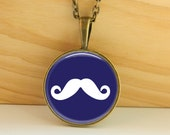 Navy Blue Mustache Necklase Vintage Jewelry  Art Glass Photo Picture Pendant  Gift for Her -145