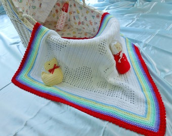 A Bear with Heart.  Unique heirloom, handmade, crocheted baby afghan/blanket.  Immediately available