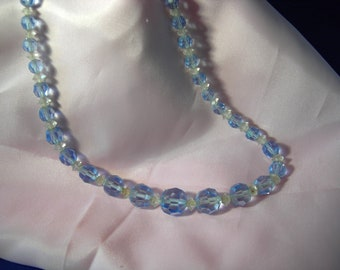 Vintage Blue and Clear Crystal Bead necklace