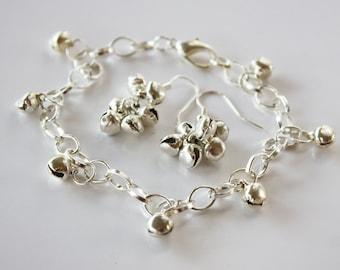 Silver Bells Charm Bracelet and Earring Set