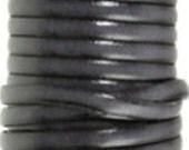 Black cowhide leather strap 5 mm wide - Cuir vachette 5 mm noir
